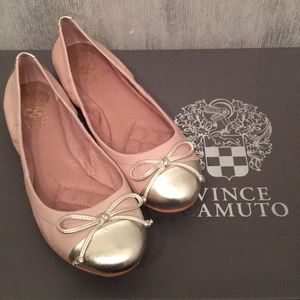 Vince Camuto Pink & Gold Ballet Flats